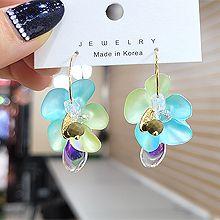 55551耳圈耳扣, 植物花 水滴形 珠子