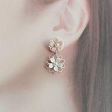 55590耳钉式, 植物花 珍珠 珠子