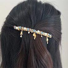 55515边夹顶夹叶子 弹簧夹 圆形 珍珠 珠子