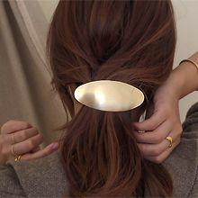 韩国进口后脑勺发夹批发55535边夹顶夹椭圆形 弹簧夹 金属 纯色