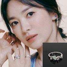 戒指女时尚个性55599水滴形 整件925银 明星款 宋慧乔