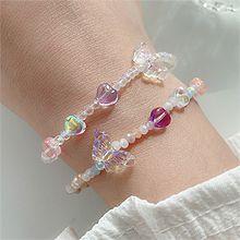 55541穿珠链, 单层链, 心形, 动物蝴蝶 心形 珠子
