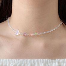 55538穿珠链, 单层链, 心形, 动物蝴蝶 心形 珠子