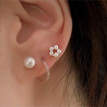 珠珠花朵耳骨耳�55664耳�式�A形 珍珠 珠子 耳骨耳�