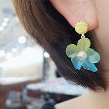 彩色小花耳环55725耳钉式, 植物花 圆形 珍珠 珠子