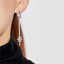 韩国进口长款耳环55737耳圈耳扣, 植物花 不对称 长方形