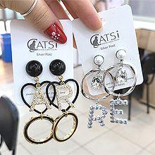 55739耳钉式, 心形, 字母数字/符号心形 字母 圆环 不对称 珍珠 珠子 水滴形