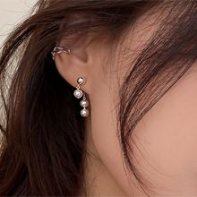 55744耳钉式后挂式 珍珠 珠子 整件925银