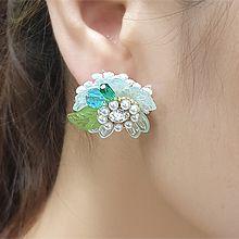55750耳钉式, 植物花 珠子 叶子 珍珠