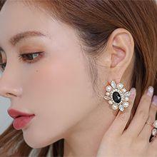 55760耳钉式椭圆形 珍珠 珠子