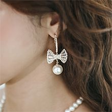 55761耳圈耳扣, 蝴蝶结蝴蝶结 珍珠 珠子