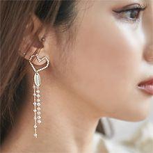 55769耳钉式, 心形心形 珍珠  珠子 流苏 不对称 椭圆形