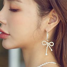 55772耳圈耳扣, 蝴蝶结蝴蝶结 珍珠 珠子