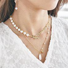 55762锁链形, 多层链珍珠 珠子 两件套 巴洛克珍珠 双层 圆环 圆柱形