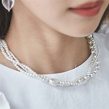 55765穿珠链, 多层链三层 珠子 珠子 椭圆形