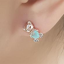 55876耳钉式, 蝴蝶结, 心形, 动物心形 熊 蝴蝶结