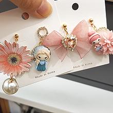 55885耳钉式, 蝴蝶结, 心形, 植物, 人物人体花 心形 蝴蝶结 珍珠 珠子 艾莎公主 不对称