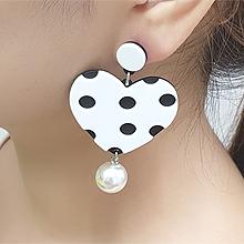 55886耳钉式, 心形圆形 心形 圆点 珍珠 珠子