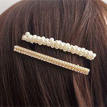 55914边夹顶夹珍珠 珠子 长方形 两件套 鸭嘴夹 弹簧夹