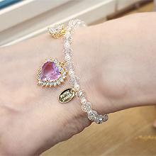 55955穿珠链, 单层链, 心形, 动物蝴蝶 心形  水滴形 珠子