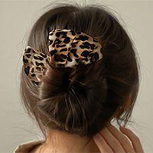豹纹丸子头发带56065发圈发绳, 其他分类特征, 蝴蝶结盘发 长方形 豹纹 蝴蝶结