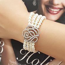 韩版气质镂空花手饰56057珠仔链, 多层链, 植物花 四层 珍珠 珠子