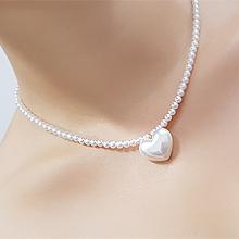56028穿珠链, 单层链, 心形, 植物心形 花 珍珠 珠子