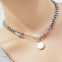 56044锁链形, 单层链别针 圆形 巴洛克珍珠