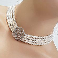 遮疤痕气质项链56053穿珠链, 多层链, 植物花 珠子 四层