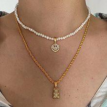 56062锁链形, 穿珠链, 单层链熊 笑脸 天然珍珠 珠子