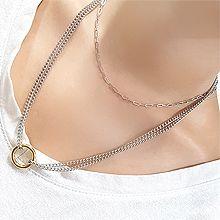 好看的项链56082锁链形, 多层链圆环 两件套