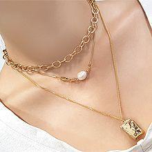2021火的项链款式56083锁链形, 多层链长方形 天然珍珠 三件套