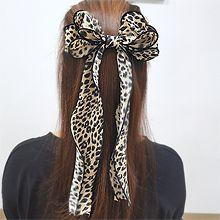 豹纹飘带后脑勺发夹56098边夹顶夹, 蝴蝶结蝴蝶结 弹簧夹 豹纹
