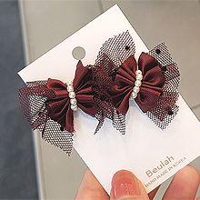 韩国气质网纱蝴蝶结耳钉56147耳钉式, 蝴蝶结蝴蝶结 蕾丝 珍珠 珠子