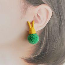 兔子头毛球耳钉56158耳钉式, 动物兔子 毛球