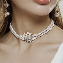 高雅遮疤痕项链56198珠仔链, 单层链, 植物花 椭圆形 珍珠 珠子
