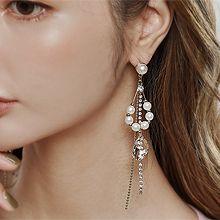 韩国长款气质流苏链耳环56200耳钉式水滴形 流苏 珍珠 珠子