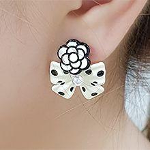 56223耳钉式, 蝴蝶结, 植物蝴蝶结 花 珍珠 珠子