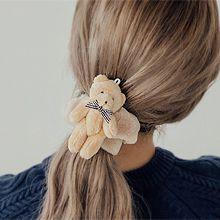 韩版可爱小熊发圈56133发圈发绳, 蝴蝶结, 动物蝴蝶结 熊 毛毛 方格 大肠发绳