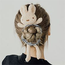 毛茸茸兔子丸子头发饰