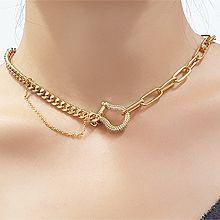 2021新款韩版马蹄形项链56116锁链形, 单层链U形