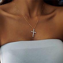 锆钻十字架项链56159锁链形, 单层链, 十字架十字架