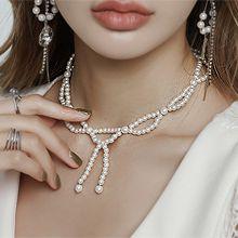 56199穿珠链, 单层链, 蝴蝶结蝴蝶结 珍珠 珠子